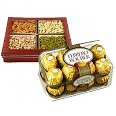 500 gm Mixed Dry Fruits with 16 pcs Ferrero Rocher Chocolates