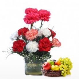 10 Mixed Carnation in Vase and Fruits with Basket