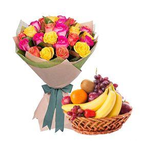 12 mixed rose and 2 kg mixed fruits.