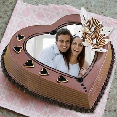 1 kg heart shape Photo Coffee Cake