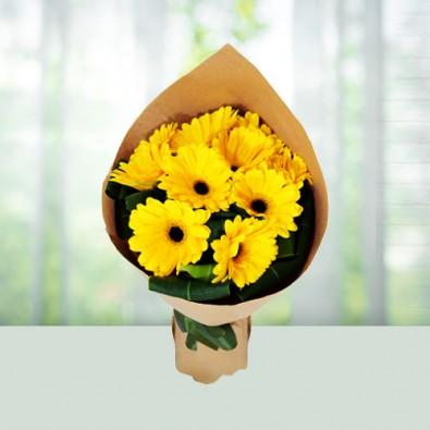 Yellow Gerbera Bouquet 12 Flowers