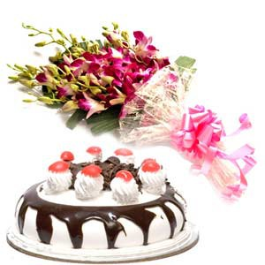 8 orchids and half kg black forest cake