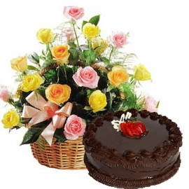 15 Mix Roses Basket and half kg Chocolate Cake
