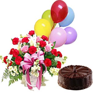 half kg cake -6 balloon-24 mix rose basket