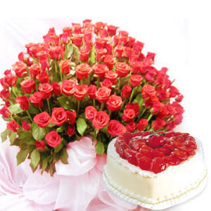 70 red roses bunch and 1 kg heart shape strawberry cake