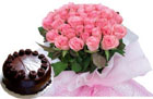 50 Red or Pink Roses & 1 Kg Chocolate Cake