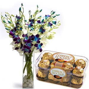 6 orchids bunch in a vase with 1 ferroro rocher chocolate box 16 Pcs