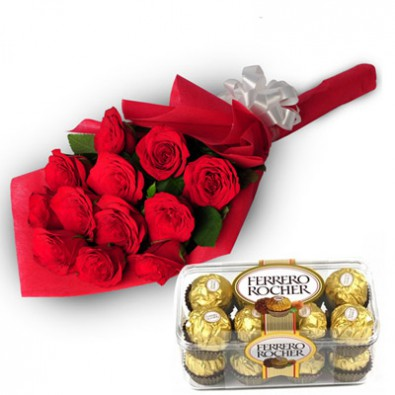 Roses with 16 pc Chocolates