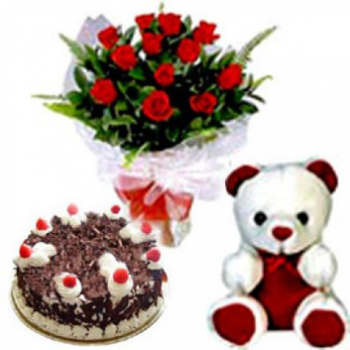 12 red rose Half Kg Cake with Teddy