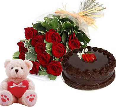 Half Kg Chcocolate cake 12 red rose and Teddy