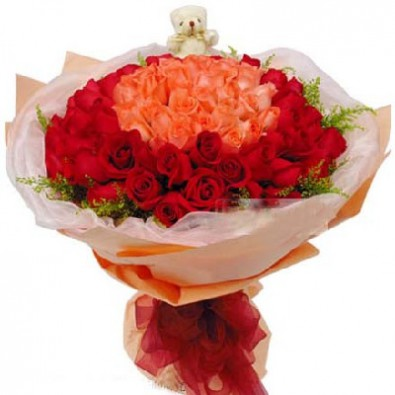 99 Stalks of Red & Pink Roses Hand Bouquet With Teddy