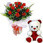 12 Mix Roses & 6 inch Teddy