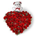 50 Heart Shape Roses with Small Teddy