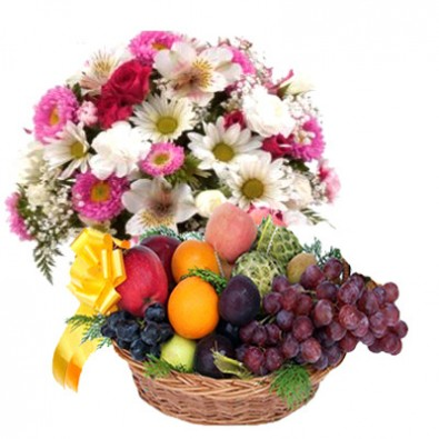 Pink White Flowers with Fruits Basket