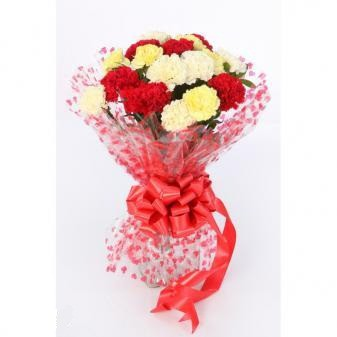 18 Red & Yellow Carnation Hand Bunch