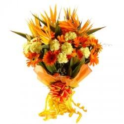 Mix Flowers Bunch of 4 Gerbera, 4 Carnations & 4 BOP