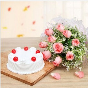 Pink Roses with500 grs  Pineapple Cake