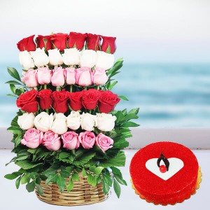 36 Red, Pink and white Roses with Half Kg Red Velvet Cake.