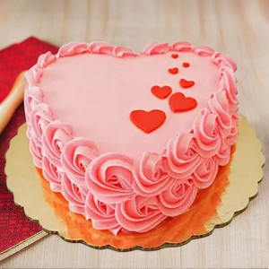 1 kg Strawberry Floating Hearts Cake