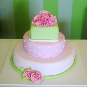 3 Kg three Tier Pink and Green Fondant cake