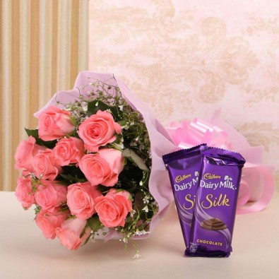 12 Pink Roses with 2 Cadbury's Silk (60 gms each)