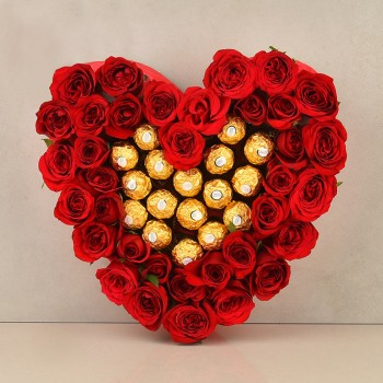 30 red roses with (16 Pcs) Ferrero Rocher Chocolate