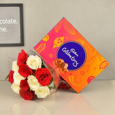 12 Red and White Roses with Cadbury's Celebrations
