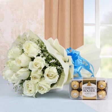 12 White Roses with 16 pcs Ferrero Rocher