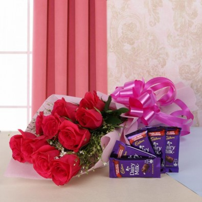 10 Hot Pink Roses and 5 Dairy Milk Chocolates
