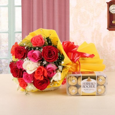 12 Assorted Roses with Ferrero Rocher (16pcs)