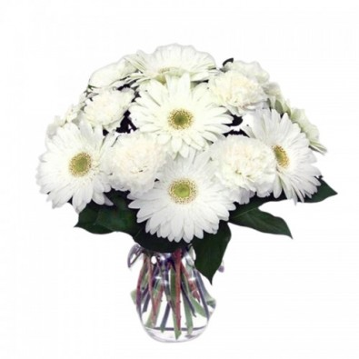 5 White Gerbera and 5 White Carnation bunch