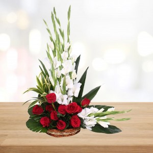12 Red Roses & 10 White Glads Basket
