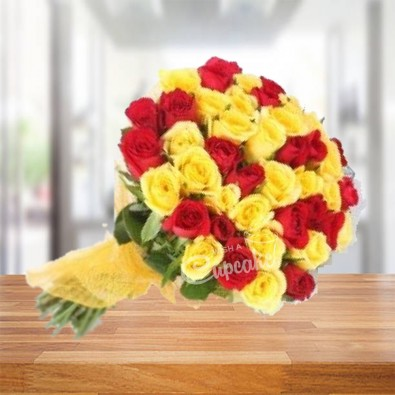 Red Yellow Roses Arrangement 45 Flowers
