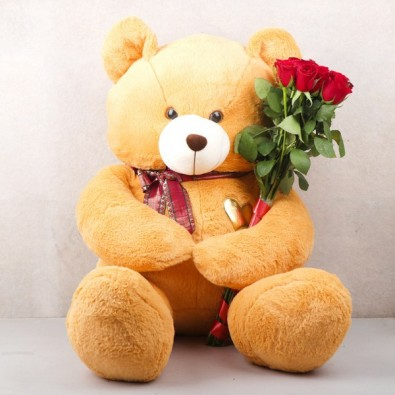 1 Teddy Bear (3 Feets)and 10 Red Roses
