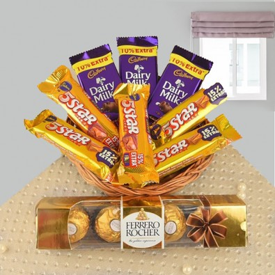chocolate basket with ferroro rochher