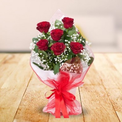 Token of love, 6 red roses bunch, send flowers, lucknow, online