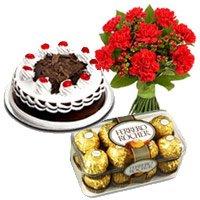 12 Mix Carnation,500 gms Black Forest Cake, 16 Pcs Ferrero Rocher
