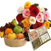12 Mix Roses Bunch with 1 Kg Fresh Fruits Basket and 500 gm Mix Dry Fruits