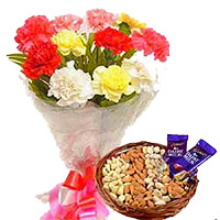 12 Mixed Flowers Bouquet with 500 gms Assorted Dry Fruits and 2 Dairy Milk Chocolates