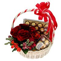 12 Red Roses, 40 Pcs Ferrero Rocher Basket