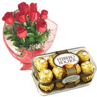 12 Red Roses and 16 pieces Ferrero Rocher Chocolates