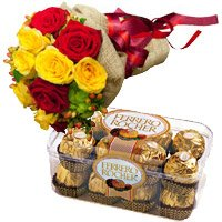 12 Red Yellow Roses Bunch 16 Pcs Ferrero Rocher
