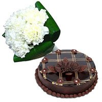 12 White Carnation, 1 Kg Chocolate Cake