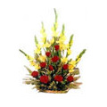 12 Yellow Glads Red Roses Basket