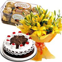 12 Yellow Lily, 500 gms Black Forest Cake, 16 Pcs Ferrero Rocher