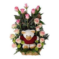 18 Pink Roses with Teddy Basket