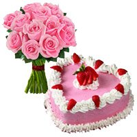 1 Kg Strawberry Cake 12 Pink Roses Bouquet