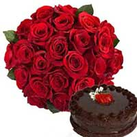 24 Red Roses Bunch with Half kg Chocolate Cake