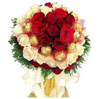 36 Red White Roses 16 Pcs Ferrero Rocher Bouquet