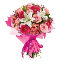 3 Lily 6 Rose 6 Carnation 6 Gerbera Bouquet
